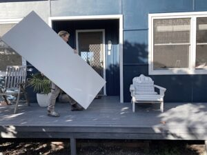 Carrying a door to install